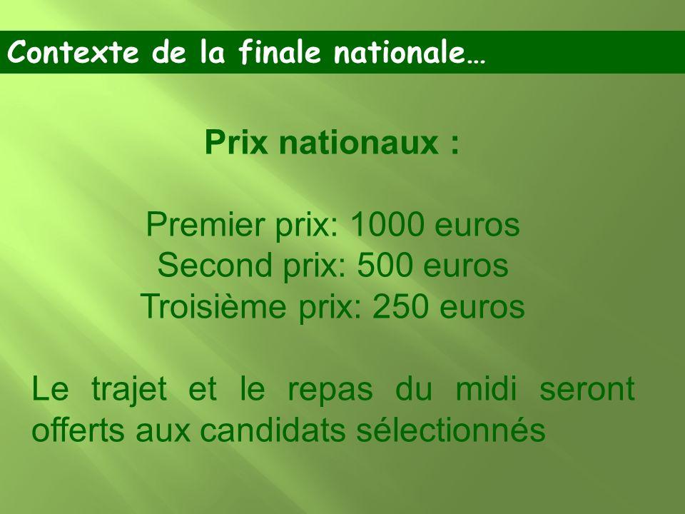 Prix nationaux : Premier prix: 1000 euros Second prix: 500 euros Troisième prix: 250 euros Le trajet et le repas du midi seront offerts aux candidats