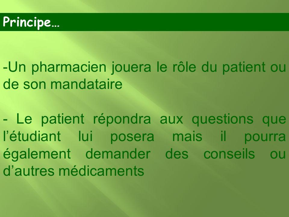 -Un pharmacien jouera le rôle du patient ou de son mandataire - Le patient répondra aux questions que létudiant lui posera mais il pourra également de