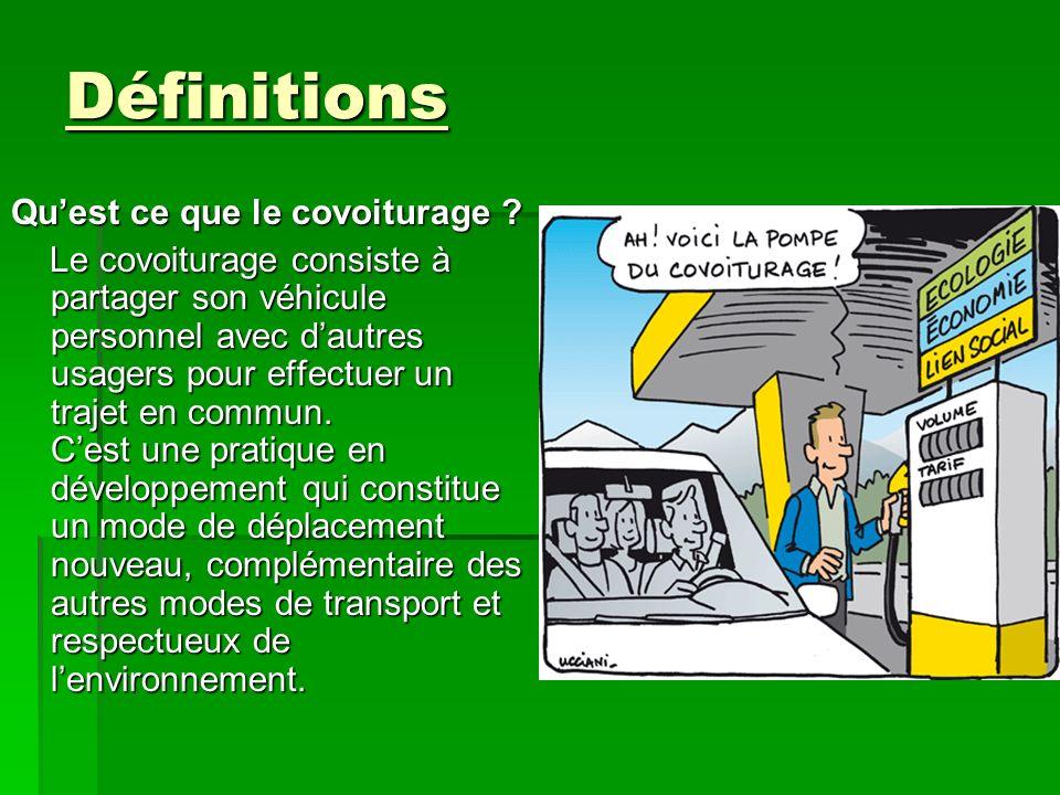 Exemple de covoiturage En France plusieurs réseaux de covoiturage ont déjà été mis en place: -Certains sites tel que «covoiturage.fr», ou encore «yahoo.123envoiture.com» ( il y en a plus dune vingtaine, plus ou moins spécialisés).