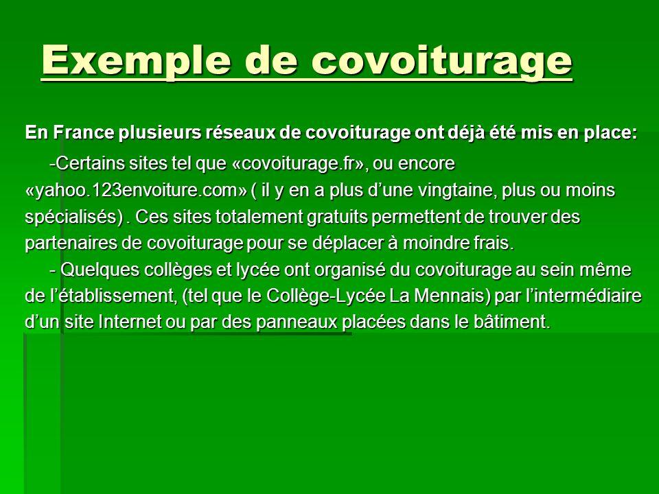 Exemple de covoiturage En France plusieurs réseaux de covoiturage ont déjà été mis en place: -Certains sites tel que «covoiturage.fr», ou encore «yaho