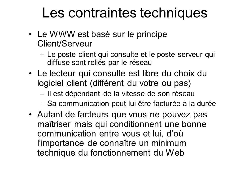 Les contraintes techniques Le WWW est basé sur le principe Client/Serveur –Le poste client qui consulte et le poste serveur qui diffuse sont reliés pa
