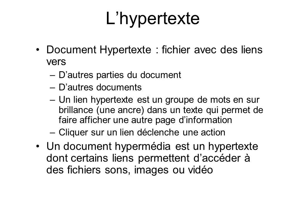 Lhypertexte Document Hypertexte : fichier avec des liens vers –Dautres parties du document –Dautres documents –Un lien hypertexte est un groupe de mot