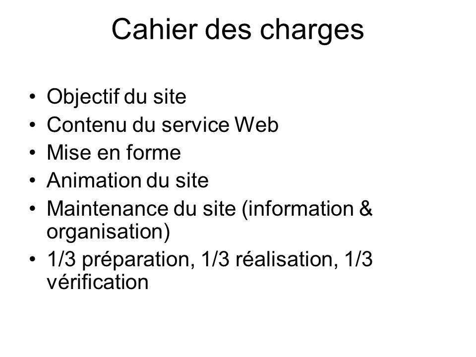 Cahier des charges Objectif du site Contenu du service Web Mise en forme Animation du site Maintenance du site (information & organisation) 1/3 prépar