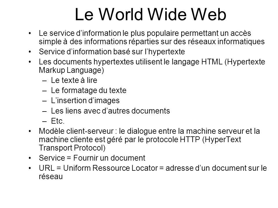 Le World Wide Web Le service dinformation le plus populaire permettant un accès simple à des informations réparties sur des réseaux informatiques Serv