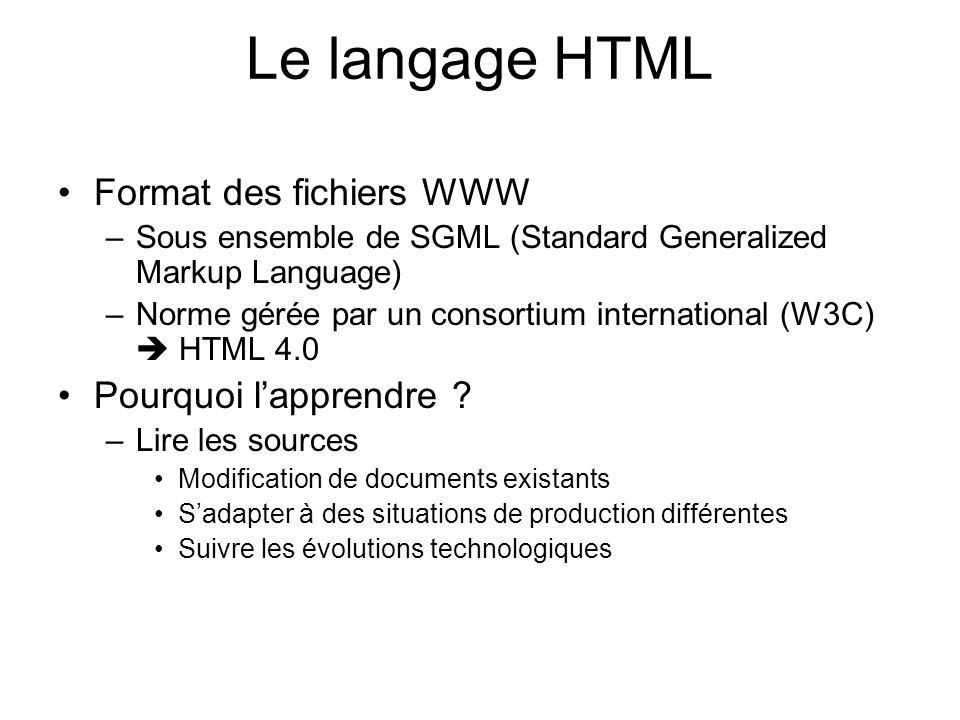 Le langage HTML Format des fichiers WWW –Sous ensemble de SGML (Standard Generalized Markup Language) –Norme gérée par un consortium international (W3