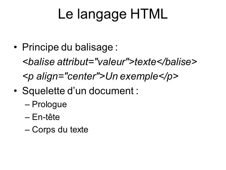 Le langage HTML Principe du balisage : texte Un exemple Squelette dun document : –Prologue –En-tête –Corps du texte