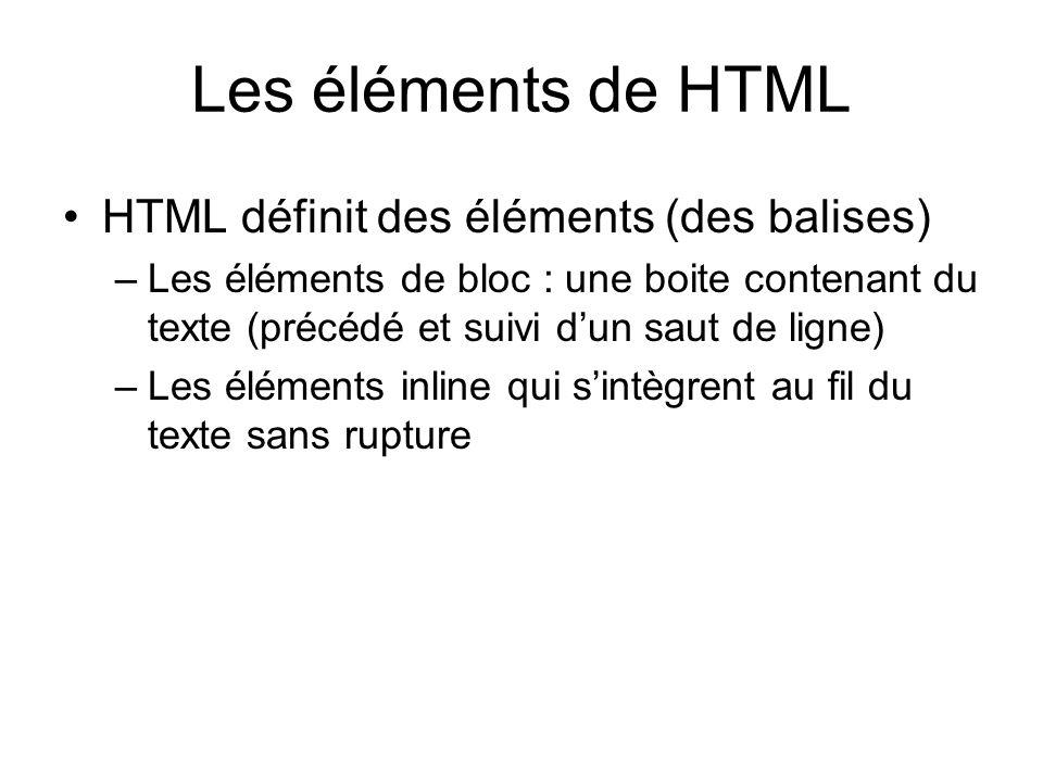 Les éléments de HTML HTML définit des éléments (des balises) –Les éléments de bloc : une boite contenant du texte (précédé et suivi dun saut de ligne)