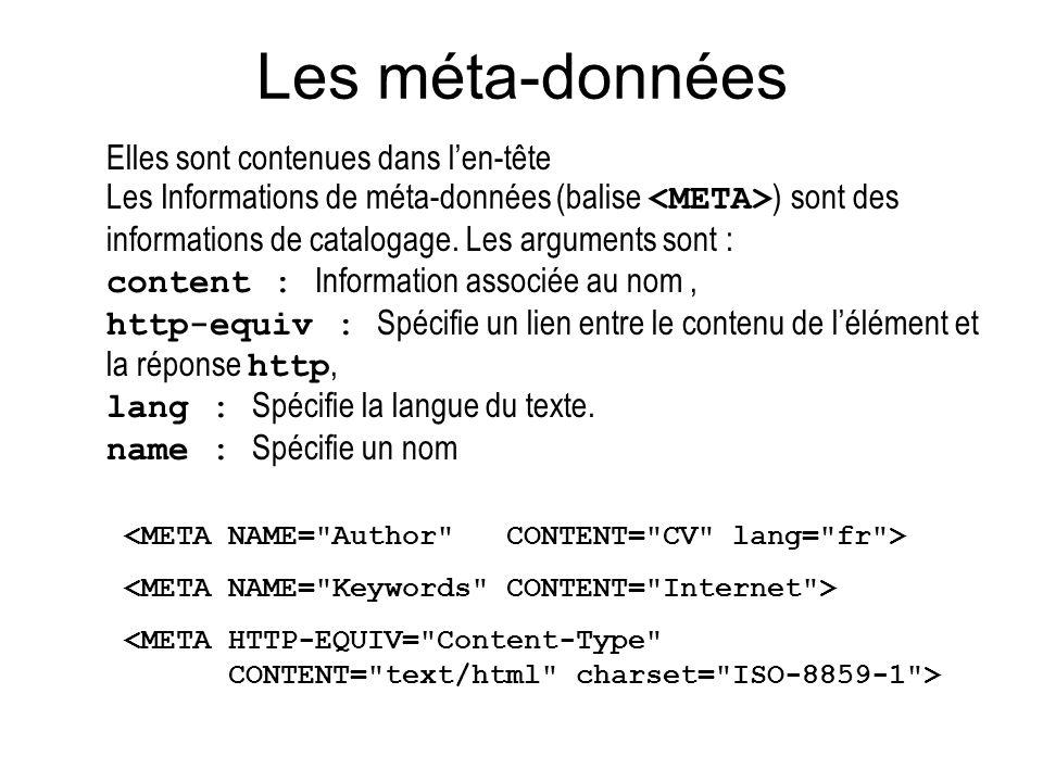 Les méta-données Elles sont contenues dans len-tête Les Informations de méta-données (balise ) sont des informations de catalogage. Les arguments sont