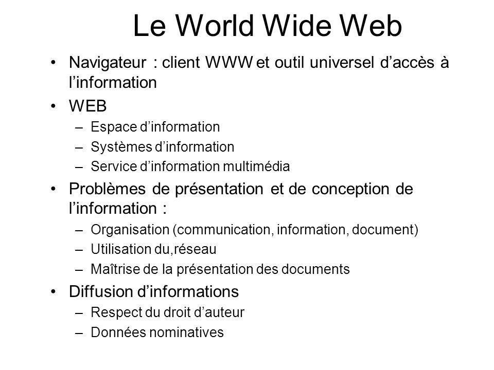 Navigateur : client WWW et outil universel daccès à linformation WEB –Espace dinformation –Systèmes dinformation –Service dinformation multimédia Prob
