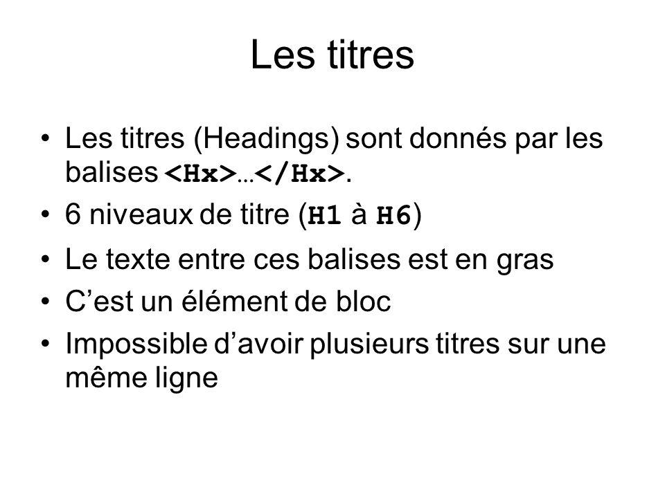 Les titres Les titres (Headings) sont donnés par les balises …. 6 niveaux de titre ( H1 à H6 ) Le texte entre ces balises est en gras Cest un élément