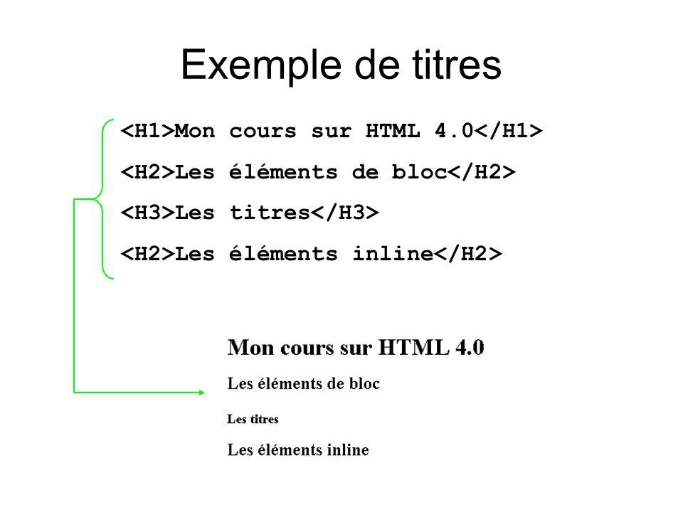 Exemple de titres Mon cours sur HTML 4.0 Les éléments de bloc Les titres Les éléments inline