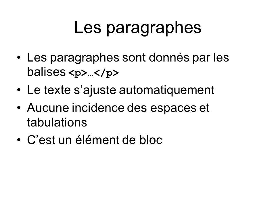 Les paragraphes Les paragraphes sont donnés par les balises … Le texte sajuste automatiquement Aucune incidence des espaces et tabulations Cest un élé