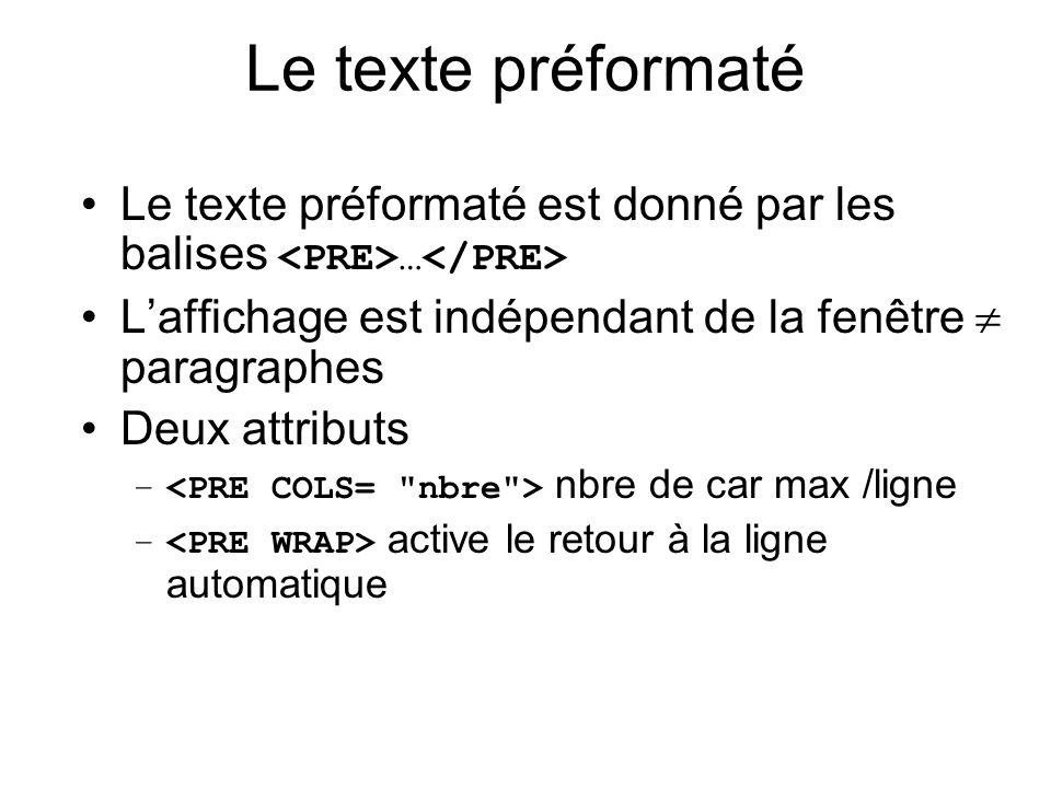 Le texte préformaté Le texte préformaté est donné par les balises … Laffichage est indépendant de la fenêtre paragraphes Deux attributs – nbre de car