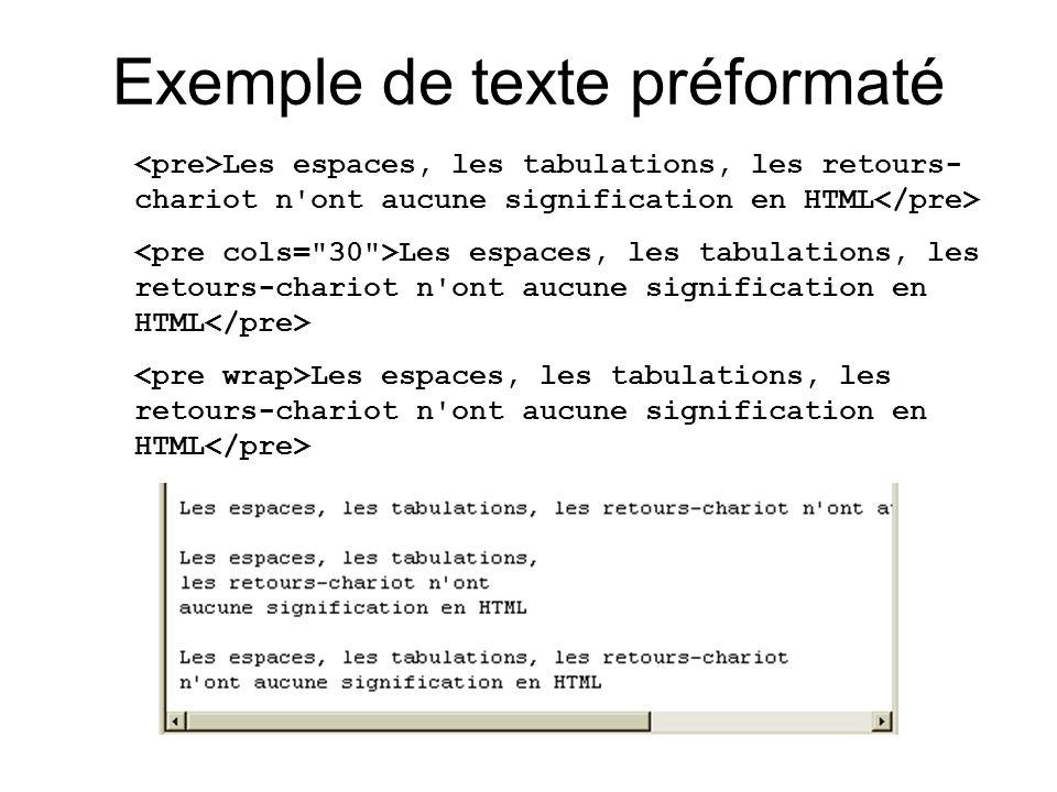 Exemple de texte préformaté Les espaces, les tabulations, les retours- chariot n'ont aucune signification en HTML