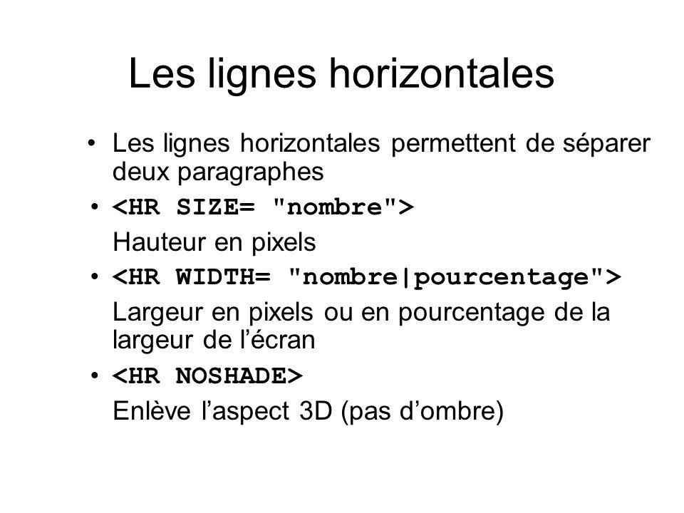 Les lignes horizontales Les lignes horizontales permettent de séparer deux paragraphes Hauteur en pixels Largeur en pixels ou en pourcentage de la lar