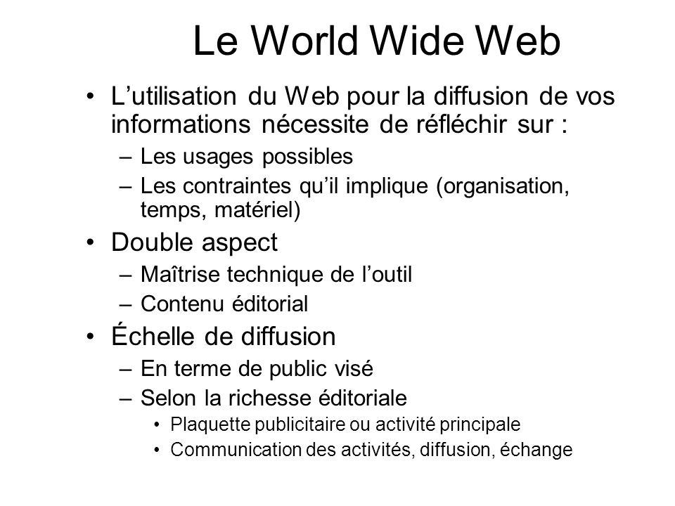 Lutilisation du Web pour la diffusion de vos informations nécessite de réfléchir sur : –Les usages possibles –Les contraintes quil implique (organisat