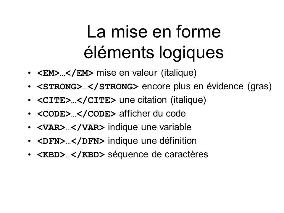 La mise en forme éléments logiques … mise en valeur (italique) … encore plus en évidence (gras) … une citation (italique) … afficher du code … indique