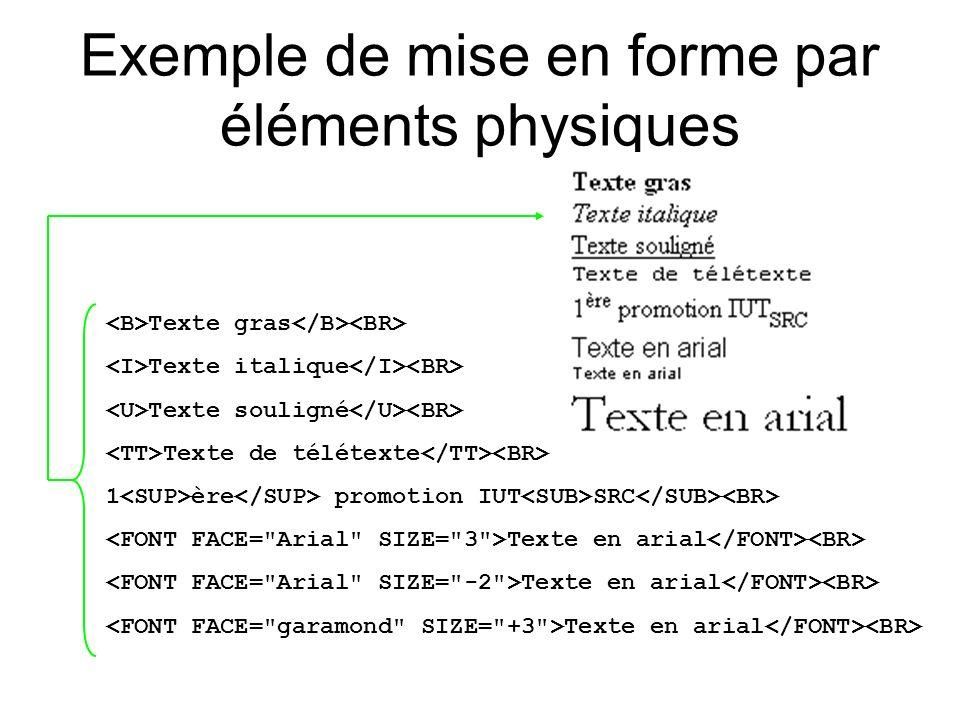 Exemple de mise en forme par éléments physiques Texte gras Texte italique Texte souligné Texte de télétexte 1 ère promotion IUT SRC Texte en arial