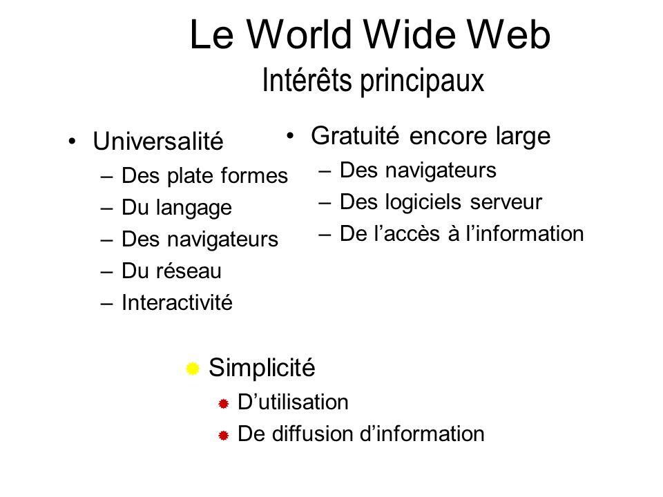 Universalité –Des plate formes –Du langage –Des navigateurs –Du réseau –Interactivité Gratuité encore large –Des navigateurs –Des logiciels serveur –D
