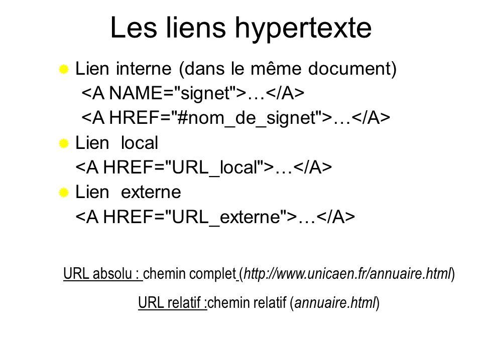 Les liens hypertexte Lien interne (dans le même document) … Lien local … Lien externe … URL absolu : chemin complet ( http://www.unicaen.fr/annuaire.h