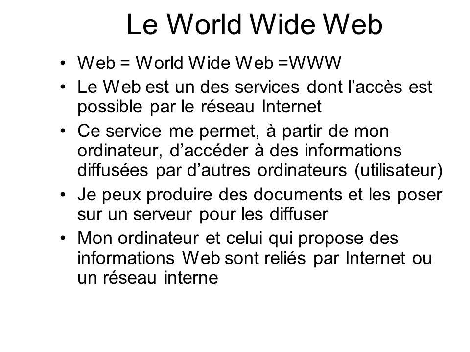 Web = World Wide Web =WWW Le Web est un des services dont laccès est possible par le réseau Internet Ce service me permet, à partir de mon ordinateur,