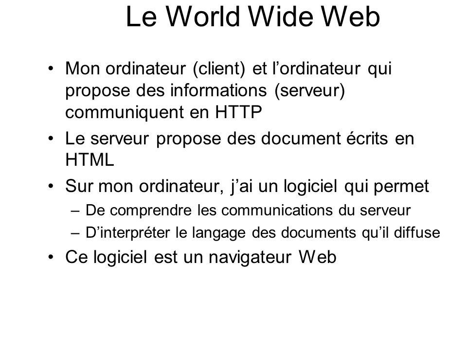 Mon ordinateur (client) et lordinateur qui propose des informations (serveur) communiquent en HTTP Le serveur propose des document écrits en HTML Sur