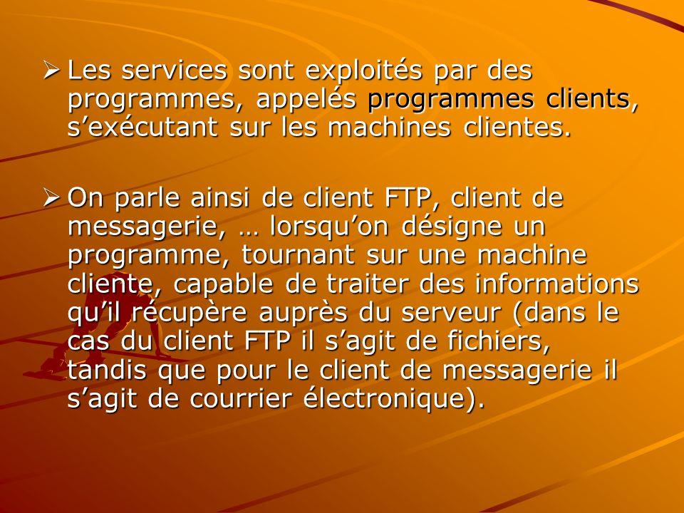 Les services sont exploités par des programmes, appelés programmes clients, sexécutant sur les machines clientes. Les services sont exploités par des