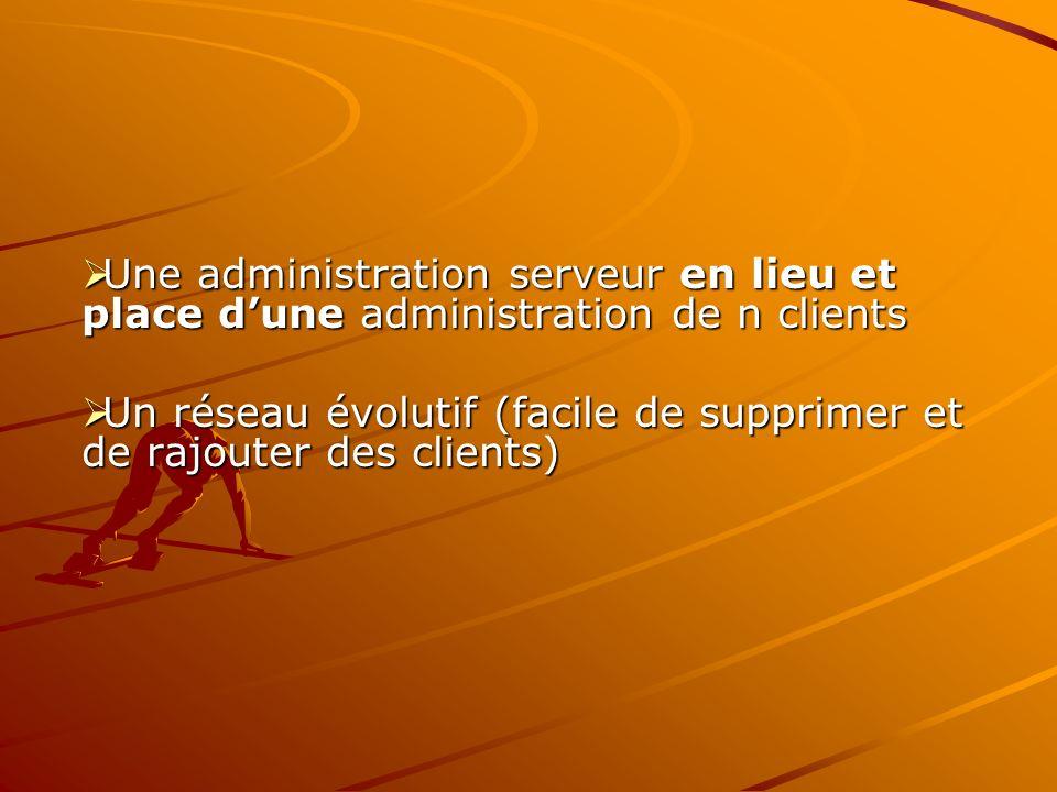 Une administration serveur en lieu et place dune administration de n clients Une administration serveur en lieu et place dune administration de n clie