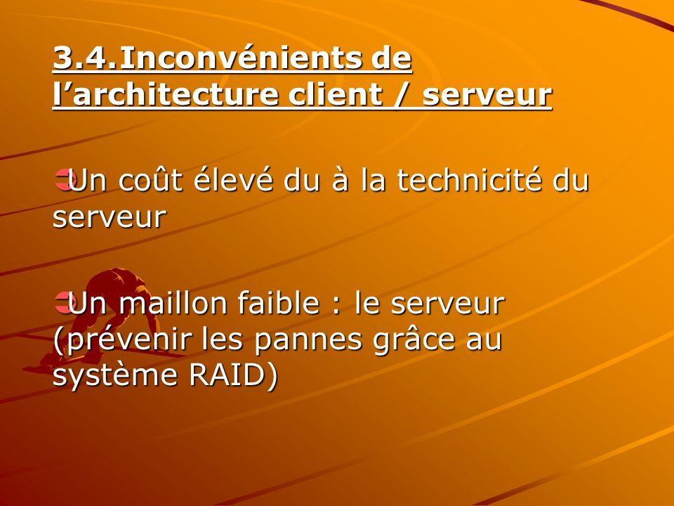 3.4.Inconvénients de larchitecture client / serveur Un coût élevé du à la technicité du serveur Un coût élevé du à la technicité du serveur Un maillon