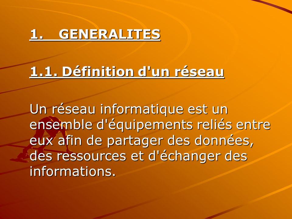 1.GENERALITES 1.1. Définition d'un réseau Un réseau informatique est un ensemble d'équipements reliés entre eux afin de partager des données, des ress