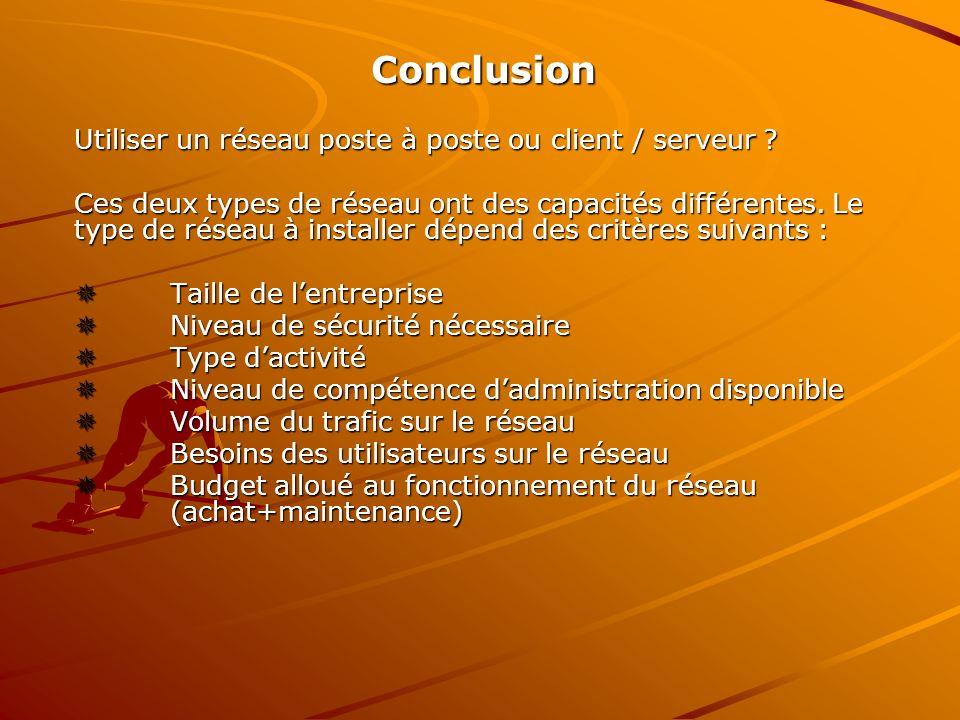 Conclusion Utiliser un réseau poste à poste ou client / serveur ? Ces deux types de réseau ont des capacités différentes. Le type de réseau à installe