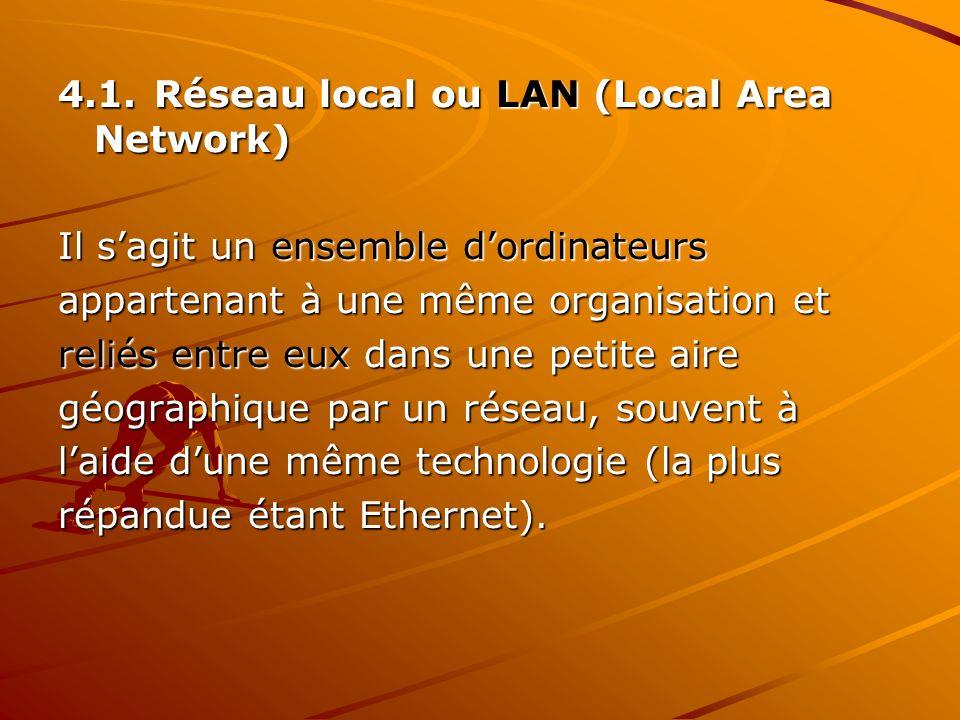 4.1.Réseau local ou LAN (Local Area Network) Il sagit un ensemble dordinateurs appartenant à une même organisation et reliés entre eux dans une petite