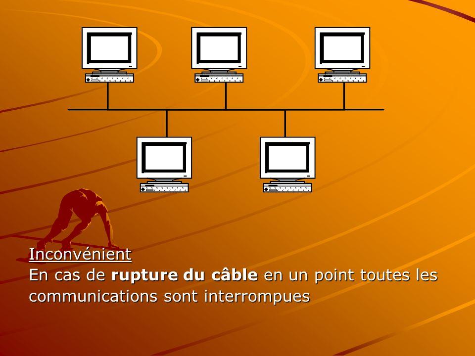 Inconvénient En cas de rupture du câble en un point toutes les communications sont interrompues