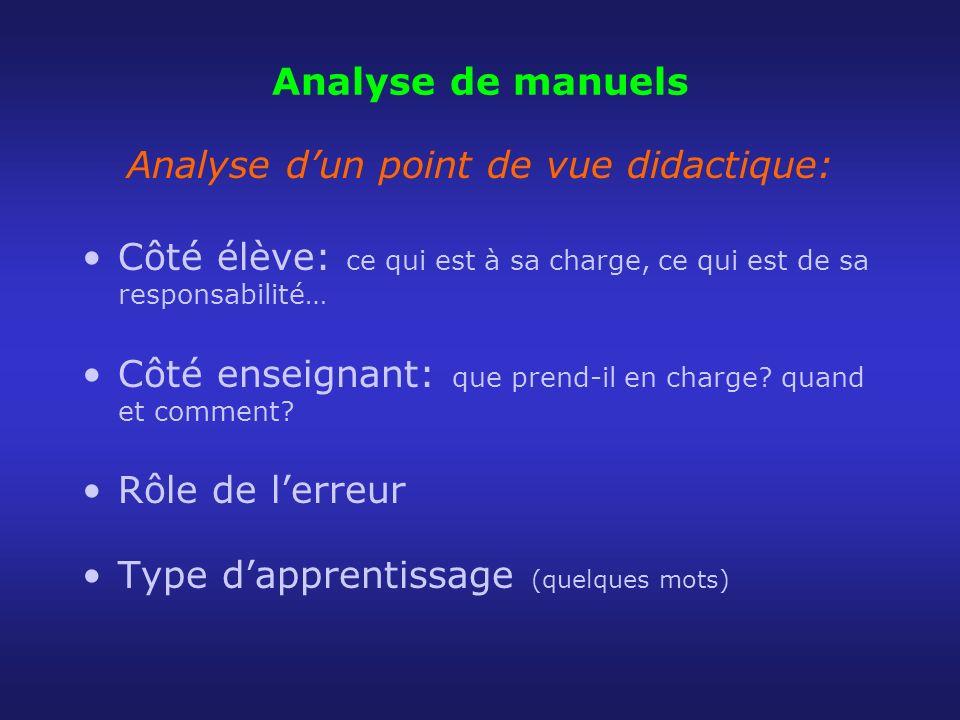 Analyse de manuels Analyse dun point de vue didactique: Côté élève: ce qui est à sa charge, ce qui est de sa responsabilité… Côté enseignant: que pren