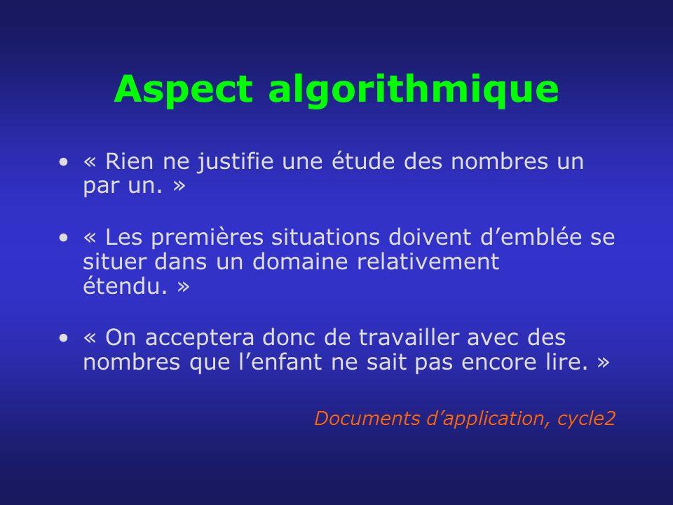 Aspect algorithmique « Rien ne justifie une étude des nombres un par un. » « Les premières situations doivent demblée se situer dans un domaine relati