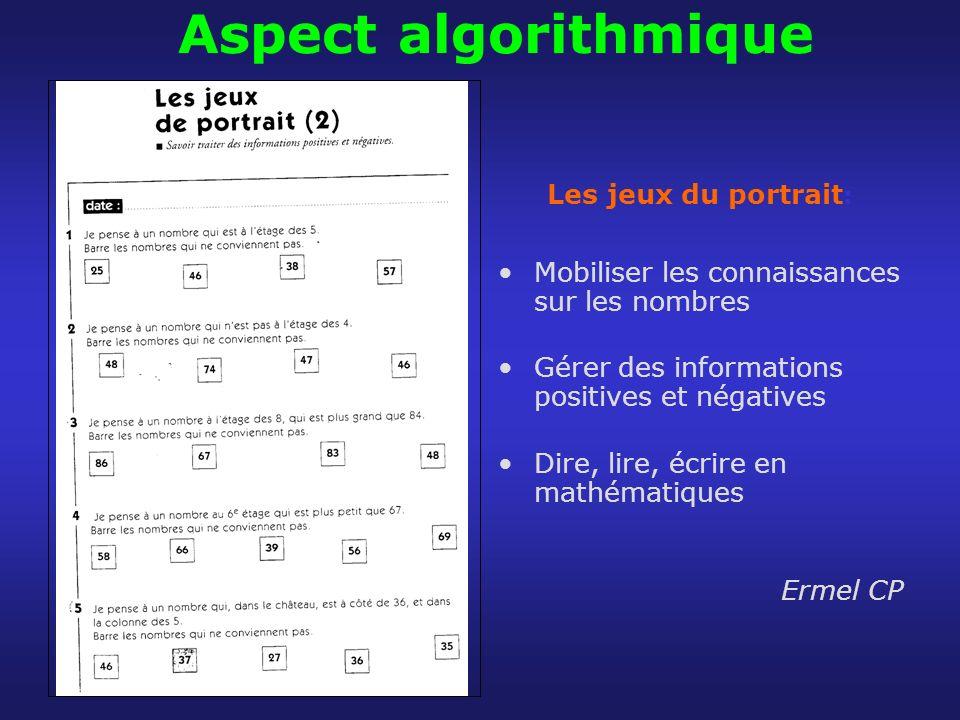 Aspect algorithmique Les jeux du portrait : Mobiliser les connaissances sur les nombres Gérer des informations positives et négatives Dire, lire, écri