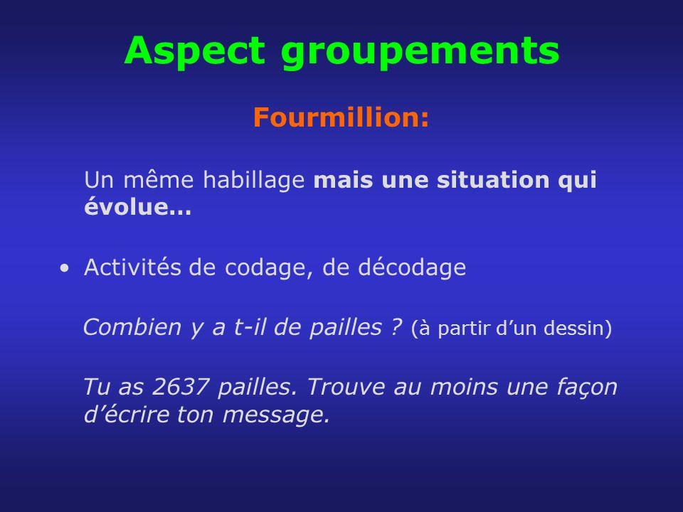 Aspect groupements Fourmillion: Un même habillage mais une situation qui évolue… Activités de codage, de décodage Combien y a t-il de pailles ? (à par