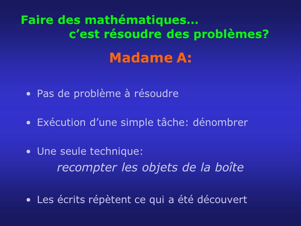 Faire des mathématiques… cest résoudre des problèmes? Madame A: Pas de problème à résoudre Exécution dune simple tâche: dénombrer Une seule technique: