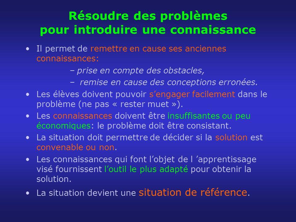 Résoudre des problèmes pour introduire une connaissance Il permet de remettre en cause ses anciennes connaissances: –prise en compte des obstacles, –