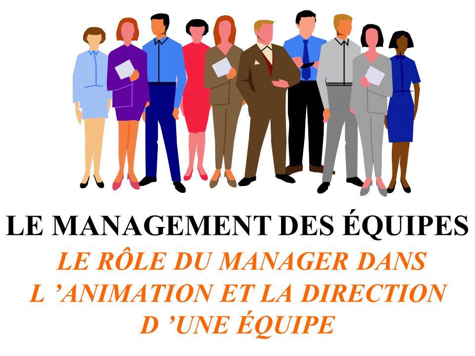 LE MANAGEMENT DES ÉQUIPES LE RÔLE DU MANAGER DANS L ANIMATION ET LA DIRECTION D UNE ÉQUIPE