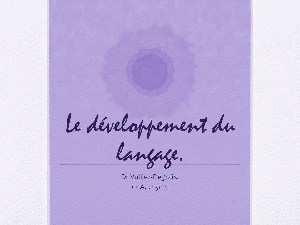 Le développement du langage. Dr Vulliez-Degraix. CCA, U 502.