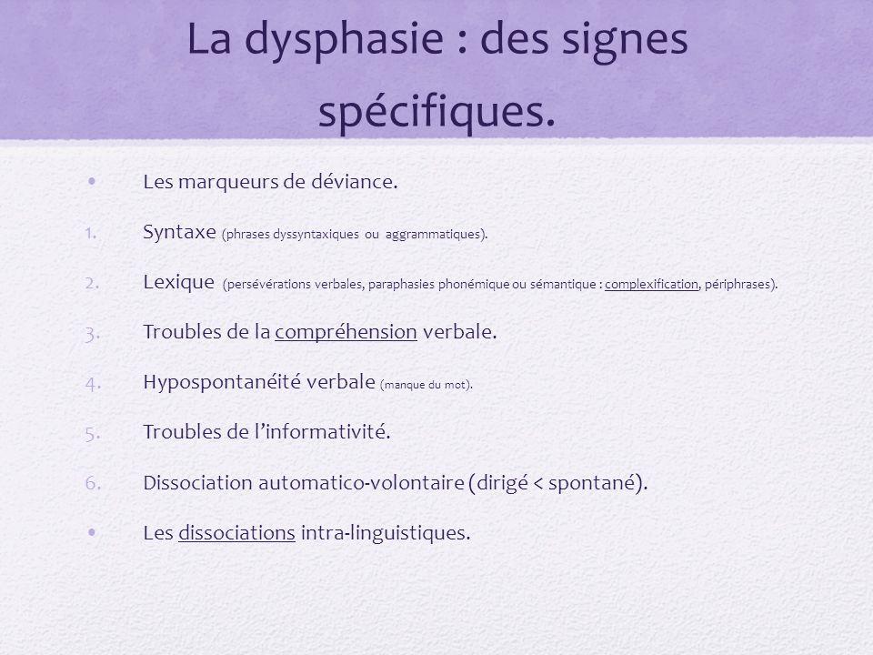 La dysphasie : des signes spécifiques. Les marqueurs de déviance. 1.Syntaxe (phrases dyssyntaxiques ou aggrammatiques). 2.Lexique (persévérations verb