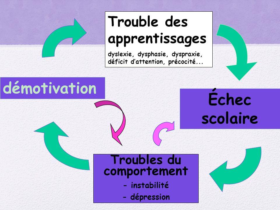 Troubles du comportement - instabilité - dépression Trouble des apprentissages dyslexie, dysphasie, dyspraxie, déficit dattention, précocité... Échec