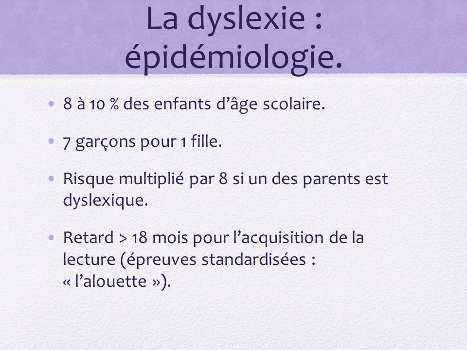 La dyslexie : épidémiologie. 8 à 10 % des enfants dâge scolaire. 7 garçons pour 1 fille. Risque multiplié par 8 si un des parents est dyslexique. Reta