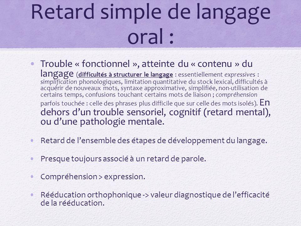 Retard simple de langage oral : Trouble « fonctionnel », atteinte du « contenu » du langage (difficultés à structurer le langage : essentiellement exp