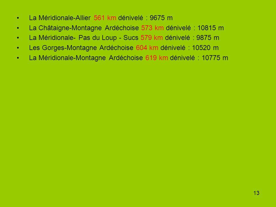 13 La Méridionale-Allier 561 km dénivelé : 9675 m La Châtaigne-Montagne Ardéchoise 573 km dénivelé : 10815 m La Méridionale- Pas du Loup - Sucs 579 km dénivelé : 9875 m Les Gorges-Montagne Ardéchoise 604 km dénivelé : 10520 m La Méridionale-Montagne Ardéchoise 619 km dénivelé : 10775 m