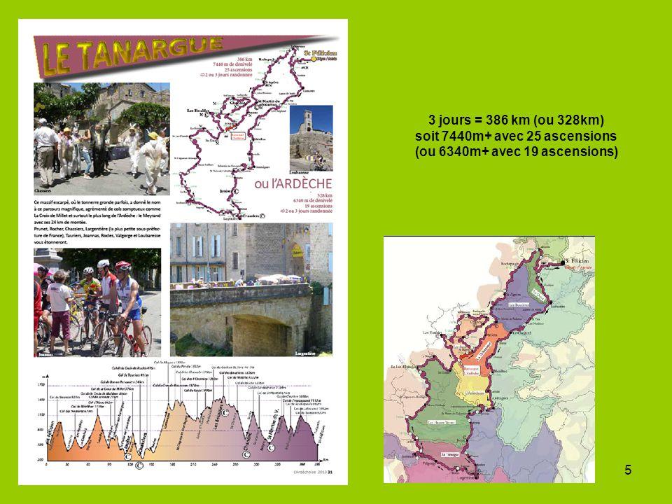 5 3 jours = 386 km (ou 328km) soit 7440m+ avec 25 ascensions (ou 6340m+ avec 19 ascensions)