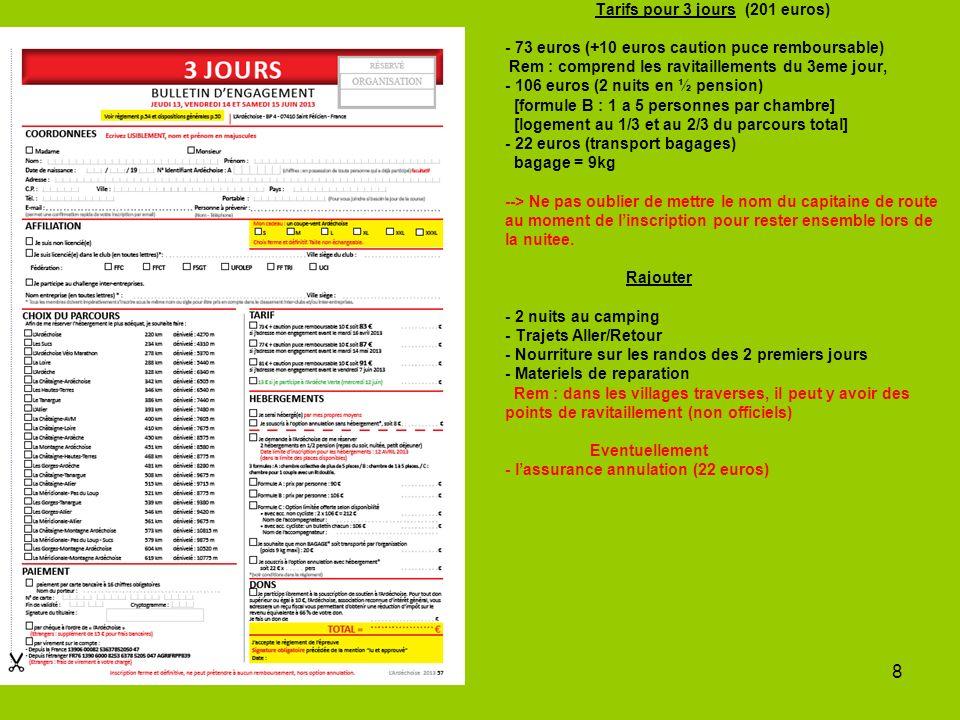 8 Tarifs pour 3 jours (201 euros) - 73 euros (+10 euros caution puce remboursable) Rem : comprend les ravitaillements du 3eme jour, - 106 euros (2 nuits en ½ pension) [formule B : 1 a 5 personnes par chambre] [logement au 1/3 et au 2/3 du parcours total] - 22 euros (transport bagages) bagage = 9kg --> Ne pas oublier de mettre le nom du capitaine de route au moment de linscription pour rester ensemble lors de la nuitee.