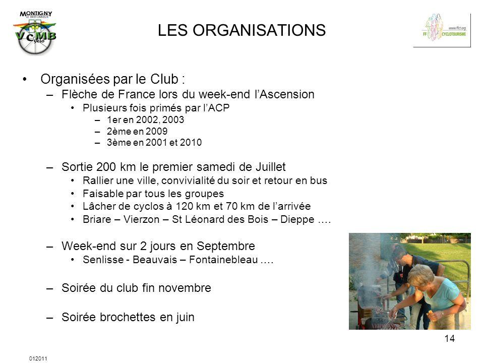 012011 14 LES ORGANISATIONS Organisées par le Club : –Flèche de France lors du week-end lAscension Plusieurs fois primés par lACP –1er en 2002, 2003 –