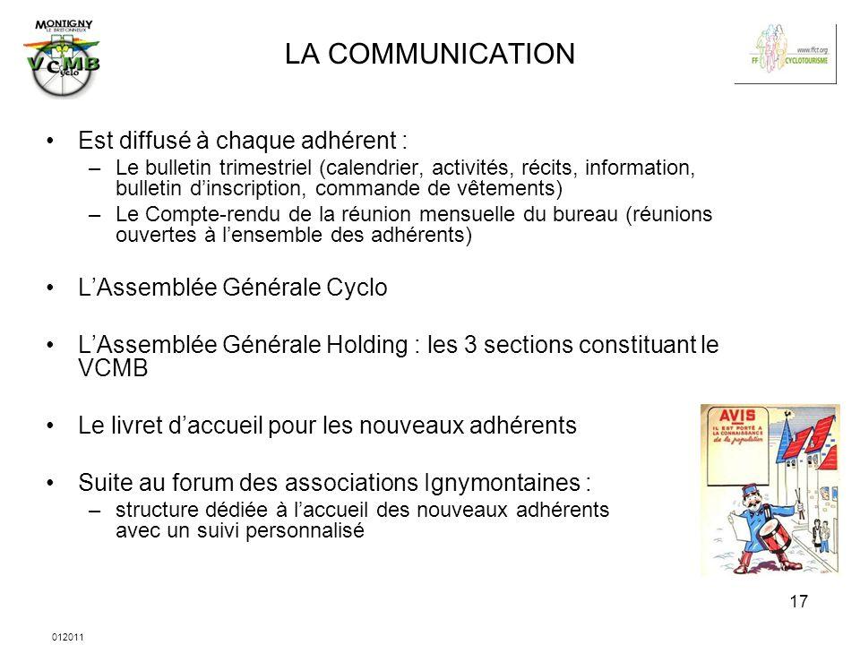 012011 17 LA COMMUNICATION Est diffusé à chaque adhérent : –Le bulletin trimestriel (calendrier, activités, récits, information, bulletin dinscription